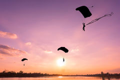 Silhouette of parachute Royalty Free Stock Images