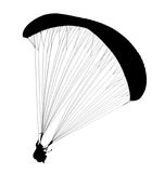 Silhouette of paraglide isolated on whit. E background Stock Images