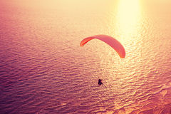 Silhouette of paraglider royalty free stock images