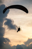 Silhouette paraglider on sunset sky Royalty Free Stock Image