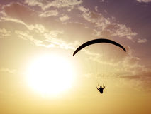 Silhouette of paragliding with sunset background. Stock Image