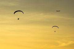 Silhouette Paramotor, Parachute, Paraglide flying in the sunset Royalty Free Stock Images