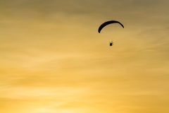 Silhouette Paramotor, Parachute, Paraglide flying in the sunset Stock Photo