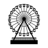 Silhouette Park Atraktsion Ferris Wheel. Vector Royalty Free Stock Photo