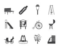 Silhouette Park objects and signs icon Royalty Free Stock Photography