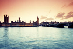 Silhouette of Parliament with Big Ben at sunset Royalty Free Stock Image
