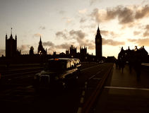 Silhouette of Parliament with Big Ben at sunset Royalty Free Stock Photo