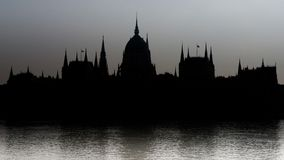 Silhouette of the Parliament of Budapest Royalty Free Stock Photography