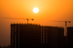 Silhouette of partially completed building in Noida Royalty Free Stock Photo