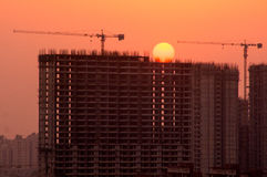 Silhouette of partially completed building in Noida Royalty Free Stock Image