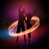 Party couple on a sparkle background. Silhouette of a party couple on a sparkle background Vector Illustration