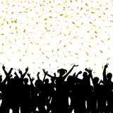 Party crowd on gold confetti background. Silhouette of a party crowd on a gold confetti background Stock Photos