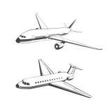 Silhouette of passenger plane Royalty Free Stock Photo