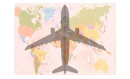 Silhouette of a passenger plane in the Passport. World map, Travel concept stock illustration