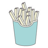 Silhouette pastel color fries portion. Vector illustration Stock Photography