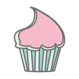 Silhouette pastel color sweet cupcake icon Stock Photo