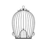 Silhouette patterned birdcage. Vector illustration Stock Photos