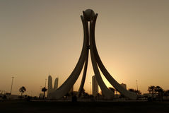 Silhouette of Pearl Monument. Pearl Monument overlooking Manama during early morning sunrise. Pearl Monument is located at Pearl Monument roundabout Royalty Free Stock Image