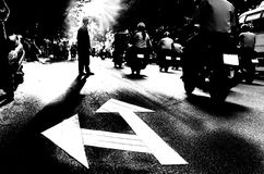 Silhouette of a Pedestrian crossing traffic Street Royalty Free Stock Photography