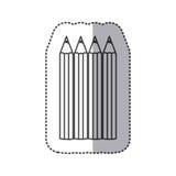 Silhouette pencils color icon Stock Photo
