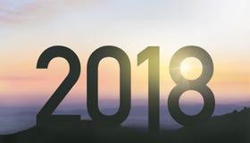 Silhouette pendant 2018 nouvelles années Photos libres de droits