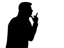 Silhouette of a pensive man. Black-n-white Royalty Free Stock Image