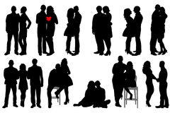 Silhouette peopleы. Isolated silhouette of a boy and a girl, date, collection Stock Image