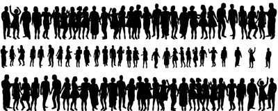 Silhouette peopleы. Isolated silhouette of a crowd of people, collection Royalty Free Stock Photography