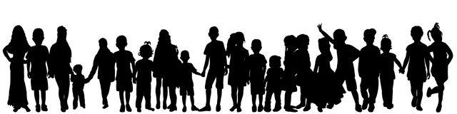 Silhouette peopleы. Vector isolated silhouette of a crowd of children, collection Vector Illustration