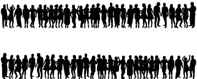 Silhouette peopleы. Vector isolated silhouette of a crowd of people, collection Royalty Free Stock Photos
