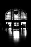 Silhouette people. Black silhouette of the people leaving dark lobby. traditional architecture Stock Photos