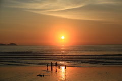 Silhouette of people on the beach and Beautiful Sea Sunset. Patong, Phuket Royalty Free Stock Photos