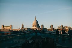 Silhouette Of People Behind St Paul's Cathedral royalty free stock photography