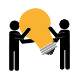 Silhouette people with big light bulb icon. Vector illustration Royalty Free Stock Photo
