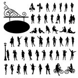 Silhouette people bodily movement collections Stock Images