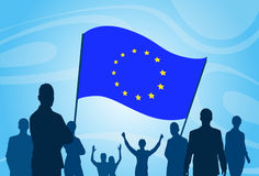 Silhouette People Crowd Protest Hold European Union Flag Stock Images