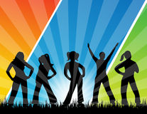 Silhouette of people dancing. An illustration of the silhouettes of five people, dancing on grass. The background has colorful gradient strips Royalty Free Stock Photo