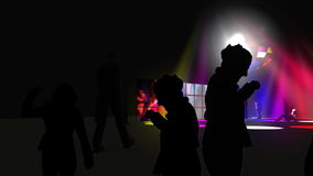 Silhouette of people dancing with colorful spotlights vector illustration