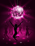 Silhouette People Dancing In Night-club, Disco Ball, Glitter Party Background Royalty Free Stock Photo