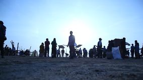 Silhouette of people in Desert stock video