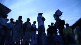 Silhouette of people in Desert stock video footage