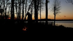 Silhouette of people enjoyiing beautiful lakeside campfire just after sunset with trees along Minnesota lake shoreline. Silhouette of people enjoyiing beautiful stock video