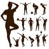 Silhouette people exercise design Stock Images
