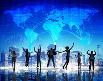 Silhouette People Global Business Cityscape Team Concept Royalty Free Stock Image