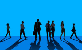 Silhouette People Global Business Cityscape Teamwork Concept Stock Photography