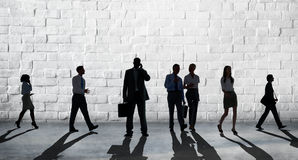 Silhouette People Global Business Cityscape Teamwork Concept Stock Photo