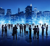 Silhouette of People in Global Business Meeting Stock Image