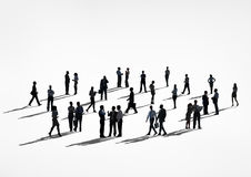 Silhouette People with Global Communications Concept Stock Images