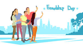 Silhouette People Group Make Selfie Photo Over City Background Friendship Day Banner Royalty Free Stock Photography
