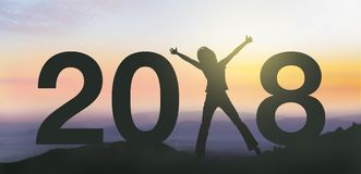 Silhouette people happy for 2018 new year. Royalty Free Stock Image